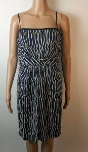 LOFT blue white spaghetti strap dress size 8